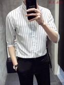【YPRA】男士短袖襯衫韓版修身條紋襯衣休閒中袖