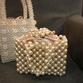 晚宴包 小眾設計珍珠重工金屬珠包包手提包手提袋 夢藝家