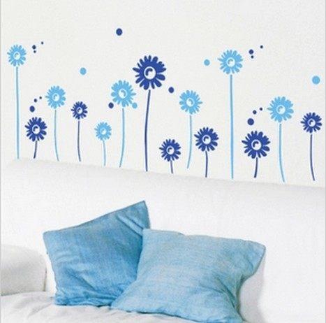 壁貼 無痕壁貼 小野菊 創意壁貼 客廳臥室電視沙發背景牆玻璃貼紙裝飾 可移除三代牆貼紙【A2018】