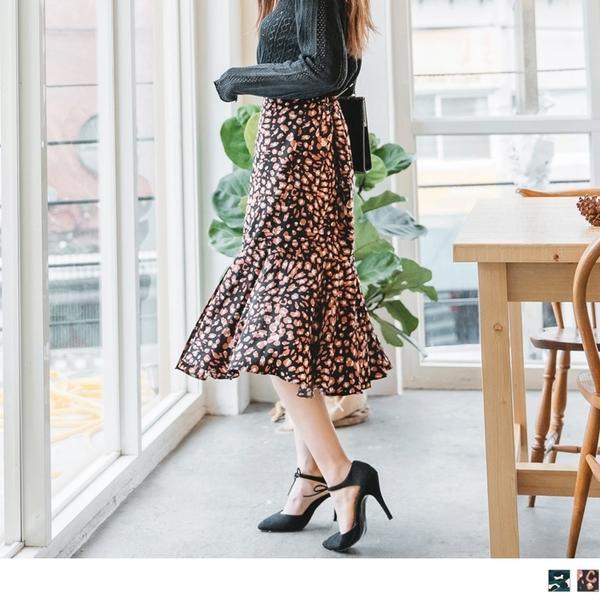 《CA1459》質感豹紋印花合身魚尾裙 OrangeBear