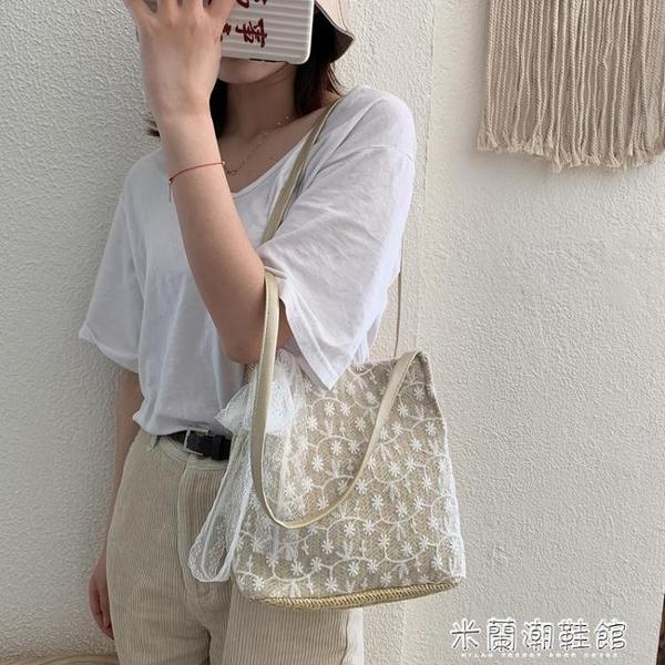 編織包 女包夏季新款韓版蕾絲草編包洋氣百搭大容量編織水桶包單肩包 快速出貨