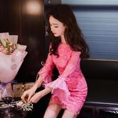 連衣裙 小個子2019秋款氣質荷葉邊喇叭袖圓領蕾絲小香風包臀修身連衣裙女【快速出貨】