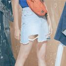 淺藍刷破不規則牛仔短裙【1919801108】