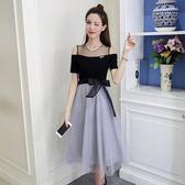 一字露肩網紗小心機洋裝女夏季2018春新款修身顯瘦中長款紗裙子   莉卡嚴選