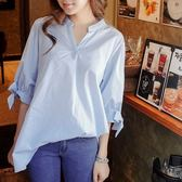 (全館一件免運)DE SHOP~(XA-6855)條紋襯衫女夏裝女裝V領短袖襯衫