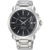【台南 時代鐘錶 SEIKO】精工 Premier 萬年曆時尚手錶 SNQ159J1@6A32-00Z0D 黑/銀 41mm