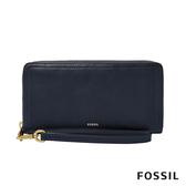 FOSSIL LOGAN 真皮系列多層拉鍊零錢袋長夾-海軍藍 SL7831406