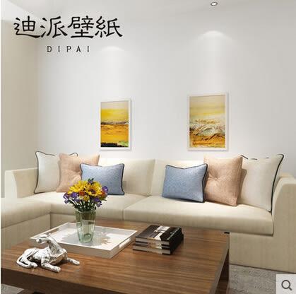 現代簡約加厚無紡布壁紙純色素色米白色橙色黃色綠色客廳臥室牆紙