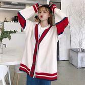 秋季女裝韓版中長款原宿風寬鬆慵懶風網紅毛衣針織衫開衫上衣外套