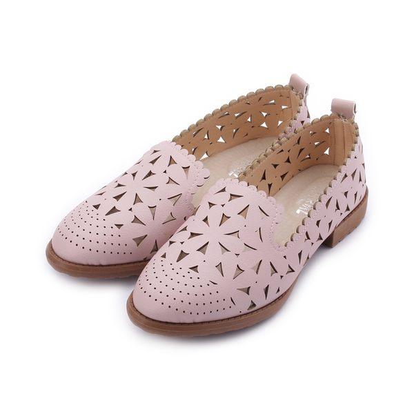 MATERIAL 雕花低跟樂福鞋 粉 001451粉 女鞋 鞋全家福