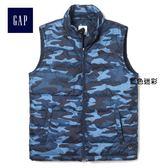 Gap男裝 休閒保暖棉服背心 403917-藍色迷彩