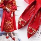 中式秀禾婚鞋女2020新款紅色高跟粗跟結婚鞋低跟孕婦秀禾服新娘鞋 黛尼時尚精品