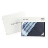 Calvin Klein 經典鐵牌LOGO防刮多卡短夾(深藍色-含帕巾)103093-2