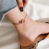 腳錬雙環羅馬數字腳錬女高級感輕奢18k玫瑰金網紅氣質時尚女款性感  伊蘿