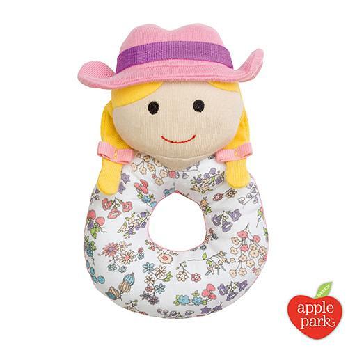 【美國 APPLE PARK】有機棉手搖鈴啃咬玩具-農場女孩