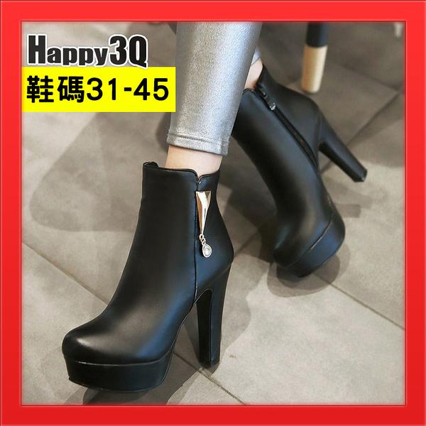 大尺碼45女鞋反串偽娘44鞋子大腳鞋子尖頭皮面短靴高跟-白/紅/黑31-45【AAA3936】預購