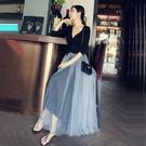 春夏新款 網紗半身裙 中長版高腰 a字裙 抖音紗裙 蓬蓬裙 仙女裙子