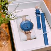 GOTO 新緣起不滅系列 簡約時尚手錶 米蘭帶 皮帶 玫瑰金電鍍x藍 女錶 GM2040L-44-L41-1