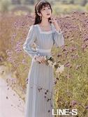 早秋20新款女可鹽可甜方領氣質桔梗法式溫柔長袖少女初戀洋裝仙