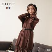 東京著衣【KODZ】優雅韓系圓領開岔素T+細肩帶小碎花兩件式洋裝(191957)
