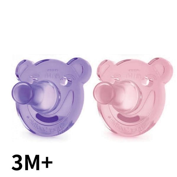 【PHILIPS AVENT】熊熊矽膠安撫奶嘴 3M+ 紫粉(SCF194/05) 雙入組