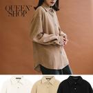 Queen Shop【02071204】細條絨面襯衫外套 三色售*現+預*