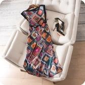 洋裝-無袖鮮明幾何印花針織拼接連身裙73sz34【時尚巴黎】