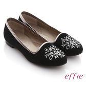 effie 舒適樂福 絨面羊皮刺繡圖紋平底鞋  黑