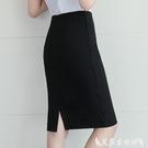窄裙 2021正裝黑色一步裙工作包臀職業裙子半身裙女西裝裙中長款工裝裙 艾家