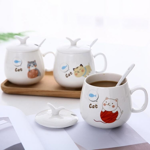 創意個性馬克杯可愛陶瓷杯子女學生帶蓋勺水杯家用早