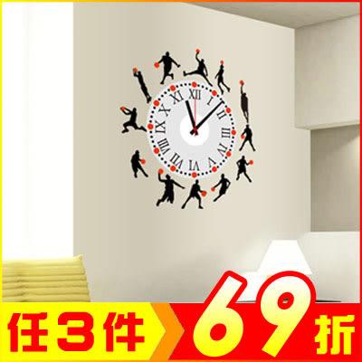 創壁貼-籃球剪影時鐘貼 SA1002W-1036【AF01013-1036】JC雜貨