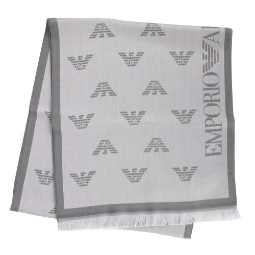 EMPORIO ARMANI 滿版logo雙面羊毛圍巾(淺灰/灰色)104000-2