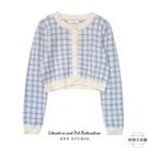 針織外套秋冬寬鬆短款圓領長袖格子毛衣開衫【時尚大衣櫥】