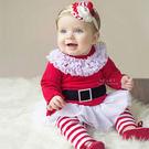 聖誕女孩紗裙上衣+條紋長褲套裝 聖誕節 ...