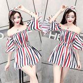 韓版夜店女裝氣質露肩喇叭袖條紋一字肩收腰性感抹胸可愛連身裙夏『韓女王』