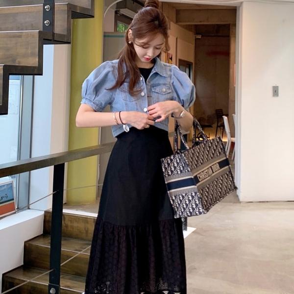 外套.韓系時髦排扣公主短袖牛仔夾克.白鳥麗子