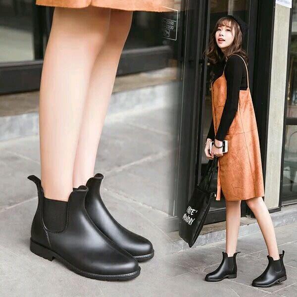 (全館一件免運)DE SHOP ~(A66) 短筒騎士工程雨靴~黑色