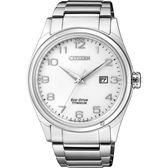 CITIZEN 星辰 光動能鈦金屬手錶-白x銀/41mm BM7360-82A