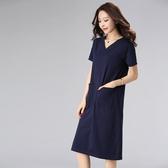 洋裝 歐美簡約夏季新大碼女裝胖mm寬鬆遮肚短袖顯瘦中長款連