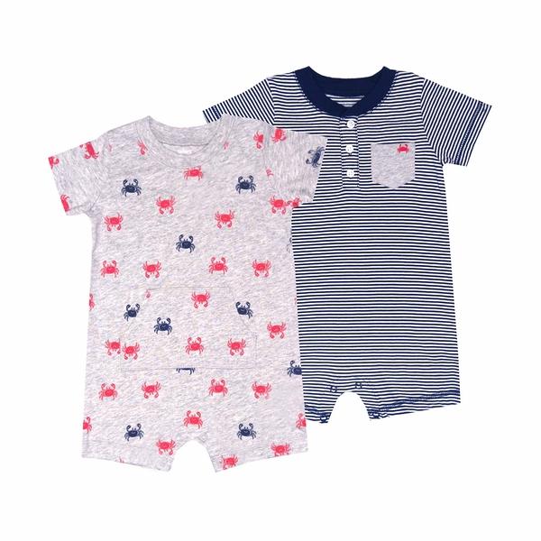 男寶寶短袖兔裝二件組 純棉連身衣 灰螃蟹 | Carter s卡特童裝 (嬰幼兒/baby/新生兒)