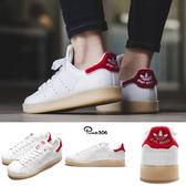 adidas 休閒鞋 Stan Smith W 白 紅 膠底 皮面 女鞋 白鞋 基本款 【PUMP306】 S32256
