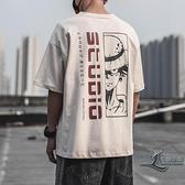 寬鬆純棉男士短袖男生圓領卡通印花短袖T恤男【邻家小鎮】