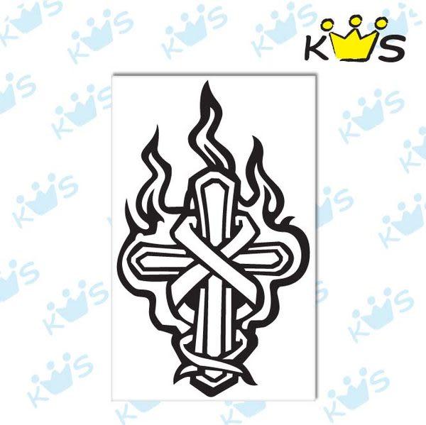 【浮雕貼紙】火焰十字架 # 壁貼 防水貼紙 汽機車貼紙 6.6cm x 11cm