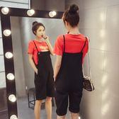 FINDSENSE G5 韓國時尚 夏季 純色 寬鬆 T恤 短褲 套裝 背帶褲 兩件套