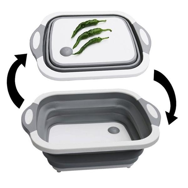 多功能折疊切菜板 伸縮洗水果盤 切菜盆可摺疊洗菜盆切菜板瀝水
