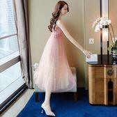 一字肩連衣裙女夏新款慵懶風chic蕾絲溫柔風吊帶長裙子小禮服花間公主