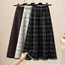 針織半身裙 格子半身裙女秋冬季新款高腰傘裙中長款過膝a字針織裙長裙子 快速出貨