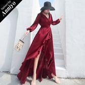 Anniyo安妞‧V領長袖露背純色緞面雪紡修身顯瘦不規則荷葉邊燕尾裙擺長洋裝拖地長禮服 酒紅色