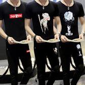 夏季男套裝韓版兩件一套短袖T恤休閒九分褲子上衣運動學生班服潮糖糖日系森女屋