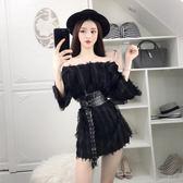 一字肩性感連身裙女夏新款羽毛流蘇顯瘦夜場氣質裙子超仙收腰 衣櫥の秘密